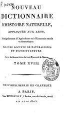 Nouveau dictionnaire d'histoire naturelle appliquée aux arts
