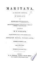 Maritana, a Grand Opera, in Three Acts