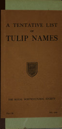 A Tentative List of Tulip Names