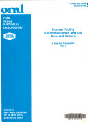 Nuclear Facility Decommissioning and Site Remedial Actions