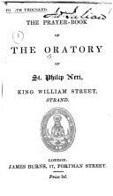 The Prayer book of the Oratory of St  Philip Neri  King William Street  Strand   Fourth Thousand