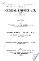 The Criminal Evidence Act  1898  61 and 62 Vict  C  36