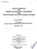 Applied Research on Energy Storage and Conversion for Photovoltaic and Wind Energy Systems  Photovoltaic systems with energy storage