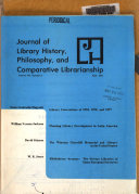 The Journal of Library History  Philosophy and Comparative Librarianship Book