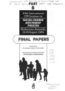 Xxth International Cfr Seminar On Social Change And Family Policies Melbourne Australia 19 24 August 1984