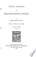 Critical  Historical  and Miscellaneous Essays