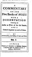 A Commentary on the Five Books of Moses: