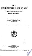The Communications Act Of 1934 With Amendments And Index Thereto