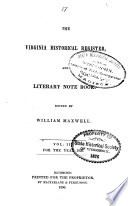 The Virginia Historical Register  and Literary Note Book Book