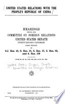 United States Relations with the People s Republic of China
