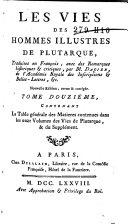 Les vies des hommes illustres de Plutarchus
