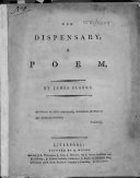 The Dispensary  a Poem  By James Clarke