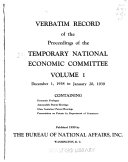 Verbatim Record Of The Proceedings Of The Temporary National Economic Committee