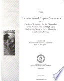 Final Environmental Impact Statement for a Geologic Repository for the Disposal of Spent Nuclear Fuel and High-level Radioactive Waste at Yucca Mountain, Nye County, Nevada: pt. 1. Comment-response document, Introduction, etc