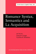 Pdf Romance Syntax, Semantics and L2 Acquisition Telecharger