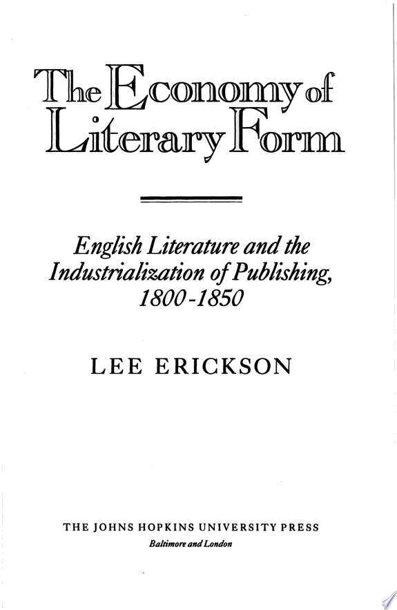 The Economy of Literary Form