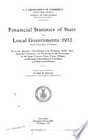 Financial Statistics of State and Local Governments: 1932