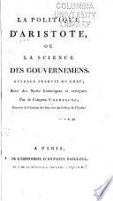 La politique d'Aristote; ou, La science des gouvernemens, Politics French Champagne