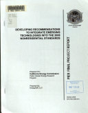 Developing Recommendations to Integrate Emerging Technologies Into the 2008 Nonresidential Standards