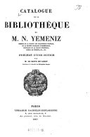 Catalogue de la bibliothèque de M. N. Yemeniz