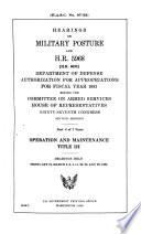 Operation and maintenance  Title III