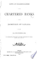 List of Shareholders in the Chartered Banks of the Dominion