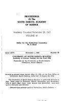 Proceedings of the South Dakota Academy of Science