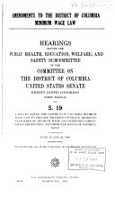 Hearings  Reports and Prints of the Senate Committee on the District of Columbia