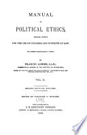 Manual of Political Ethics Book