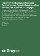 Pdf History of the Language Sciences / Geschichte der Sprachwissenschaften / Histoire des sciences du langage. 3. Teilband Telecharger