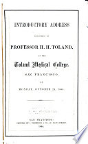 Introductory Address     Toland Medical College