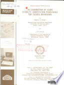 An Examination of Slope Stability Computation Procedures for Sudden Drawdown