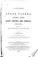 Calendar of State Papers  Colonial Series     Book