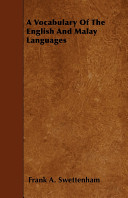 Pdf A Vocabulary of the English and Malay Languages