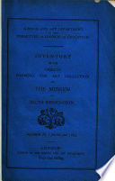 Inventory of the Objects forming the Art Collection of the Museum at South Kensington. Supplement No. 1 for the year 1864