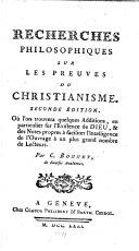 Recherches philosophiques sur les preuves du christianisme