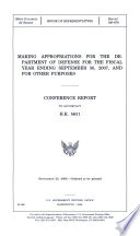 Making Appropriations for the Department of Defense for the Fiscal Year Ending September 30  2007  and for Other Purposes