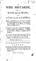 A Wife Mistaken, Or, A Wife and No Wife: Or Leah Instead of Rachel