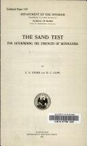 The Sand Test for Determining the Strength of Detonators