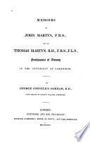 Memoirs of John Martyn     and of Thomas Martyn     Professors of Botany in the University of Cambridge Book