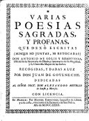 Varias poesias sagradas y profanas