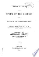 Introduction to the Study of the Gospels Book