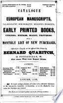 Catalogue Of European Manuscripts Offered For Cash By Bernard Quaritch