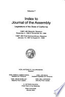 Index to Jounral of the Assembly