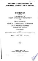 Department of Energy Research and Development Programs  fiscal Year 1985 Book