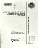 Life Cycle Assessment of Existing and Emerging Distributed Generation Technologies in California Book