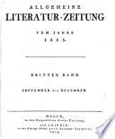 ALLGEMEINE LITERATUR-ZEITUNG VOM JAHRE 1815
