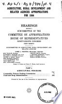Agriculture, rural development, and related agencies appropriations for 1984