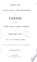 Specifications and Drawings of Patents Issued from the United States Patent Office for     Book