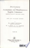 Dictionary Of Anonymous And Pseudonymous English Literature